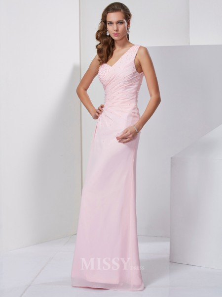 Sheath One-Shoulder Floor-Length Chiffon Evening Dress With Rhinestone