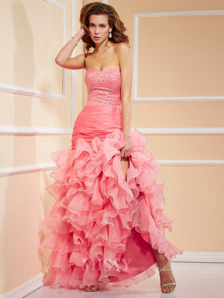 Mermaid Sweetheart Asymmetrical Organza Evening Dress With Beading