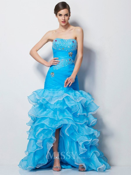 Mermaid Sweetheart Tulle Asymmetrical Evening Dress With Sash