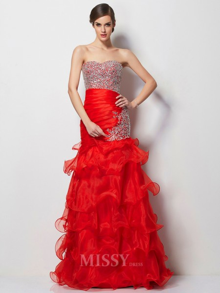 Mermaid Sweetheart Tulle Floor-Length Evening Dress With Beading
