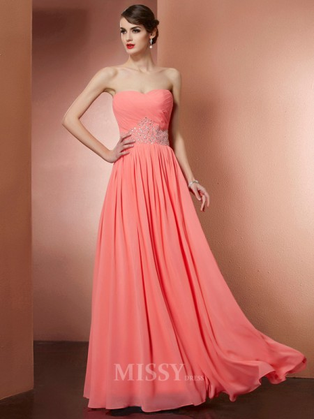 A-Line Strapless Chiffon Floor-Length Evening Dress With Beading