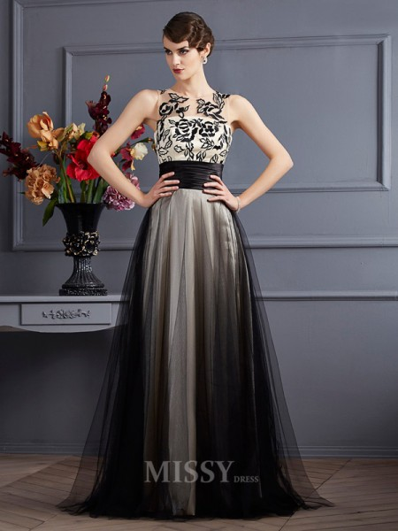 A-Line Scoop Silk like Satin Floor-Length Evening Dress With Ruched