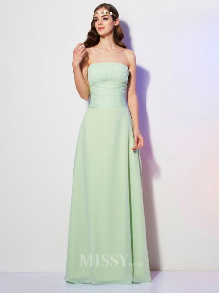 A-Line Strapless Floor-Length Chiffon Evening Dress With Sequin Pleats