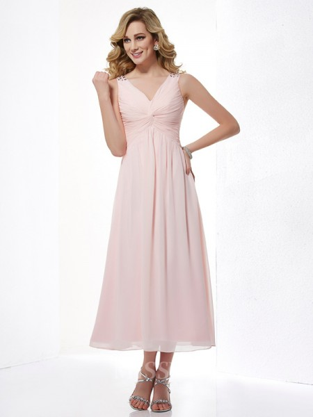 A-Line V-neck Chiffon Tea-Length Evening Dress With Pleats
