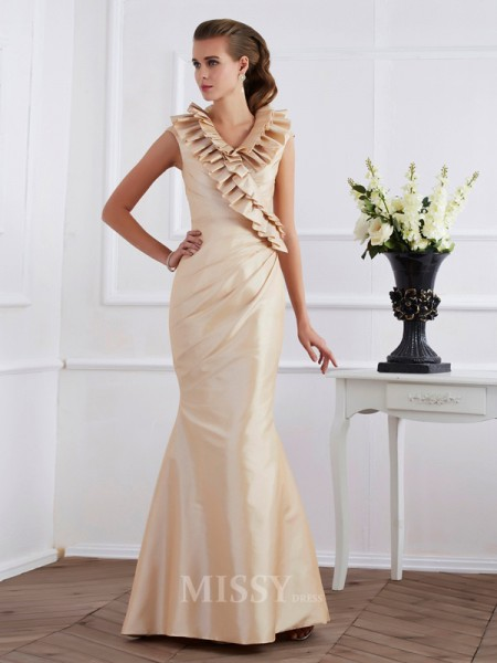 Sheath Floor-Length Short Sleeves Taffeta Evening Dress With Beading Ruffles