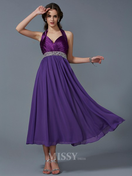 A-Line Halter Ankle-Length Chiffon Evening Dress With Rhinestone