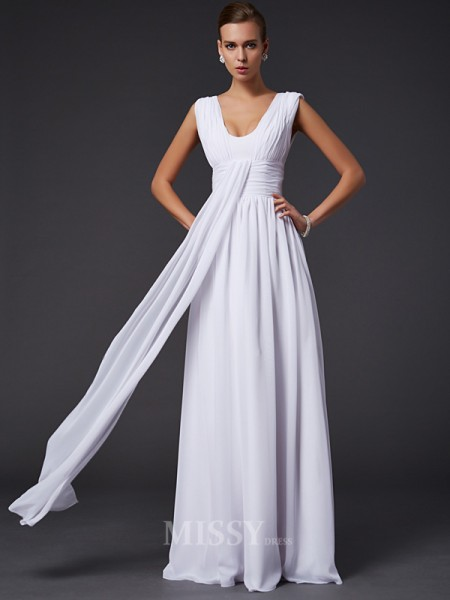 A-Line Jewel Floor-length Chiffon Evening Dress With Beading Pleats