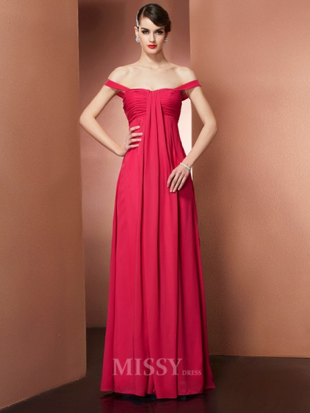 A-Line Off-the-Shoulder Floor-Length Chiffon Evening Dress With Applique Pleats