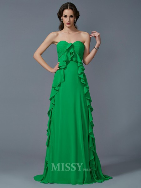 A-Line Sweetheart Sweep Train Chiffon Evening Dress With Beading Pleats