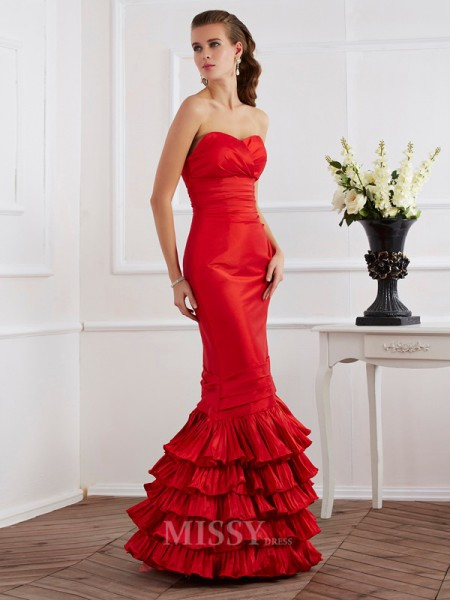 Mermaid Sweetheart Floor-Length Taffeta Evening Dress With Sequin Ruffles