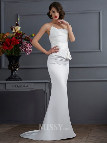 Mermaid Strapless Sweep Train Satin Evening Dress With Sash