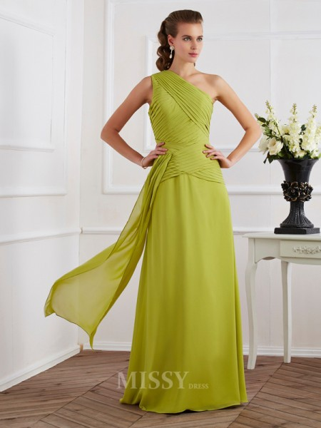 A-Line One-Shoulder Floor-Length Chiffon Evening Dress With Ruffles Pleats
