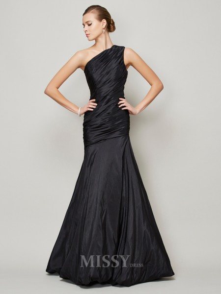 A-Line One-Shoulder Floor-Length Taffeta Evening Dress With Beading