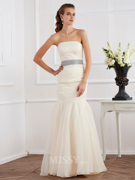 Mermaid Strapless Floor-Length Organza Evening Dress With Applique