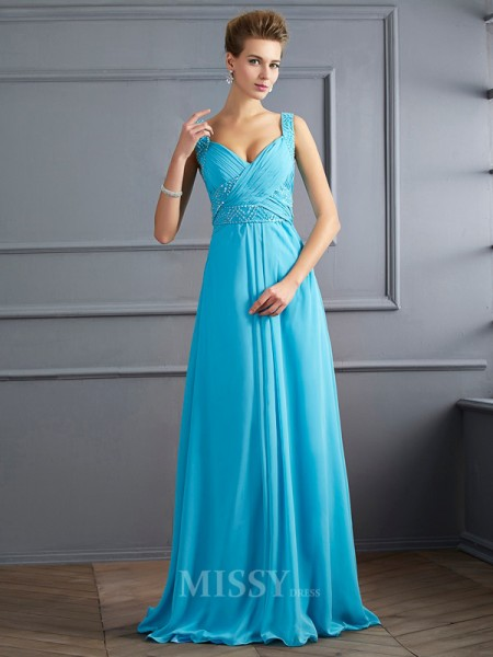 A-Line Straps Chiffon Floor-Length Evening Dress With Ruched