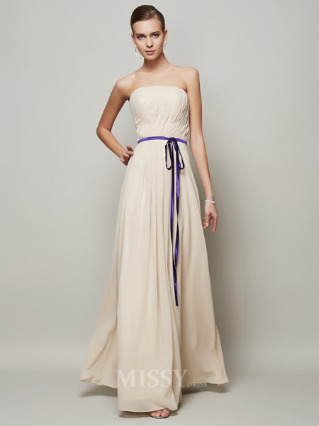 A-Line Strapless Floor-Length Chiffon Evening Dress With Beading
