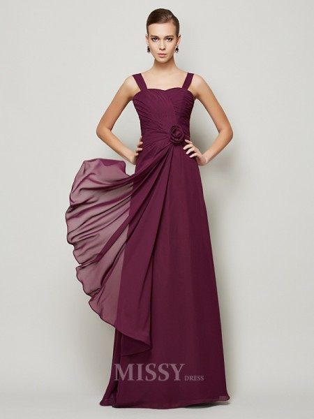 A-Line Straps Chiffon Evening Dress With Sequin Hand-made Flower