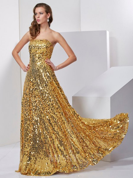 A-Line Strapless Floor-Length Satin Long Evening Dress With Lace