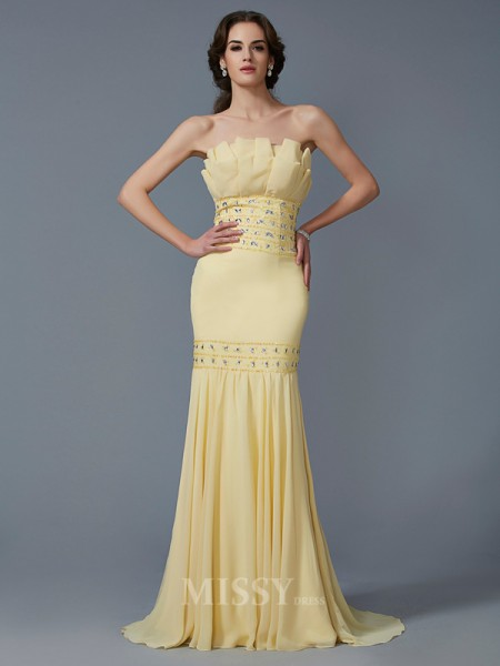 Mermaid Strapless Sweep Train Chiffon Evening Dress With Embroidery
