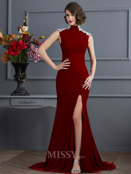 A-Line High Neck Sweep Train Evening Dress With Beading