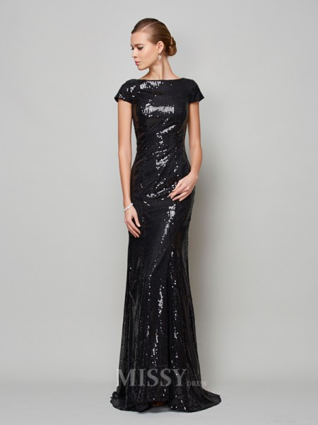 A-Line High Neck Short Sleeves Lace Sweep Train Evening Dress With Beading