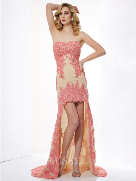 A-Line Sweetheart Lace Asymmetrical Evening Dress With Pleats Applique