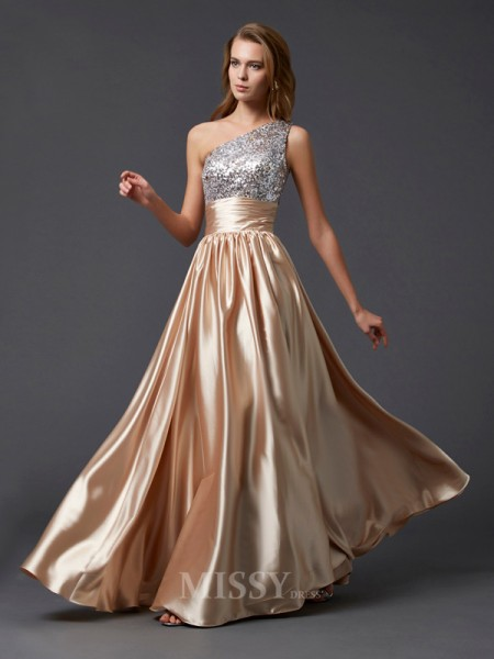 A-Line One-shoulder Floor-length Elastic Woven Satin Evening Dress With Applique