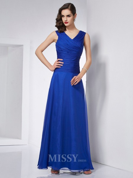 A-Line V-neck Ankle-Length Chiffon Evening Dress With Lace Pleats