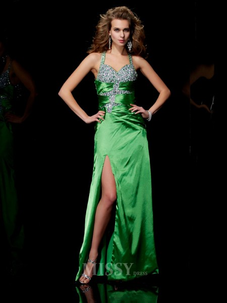 Sheath Straps  Sweep Train Elastic Woven Satin Evening Dress With Sequin
