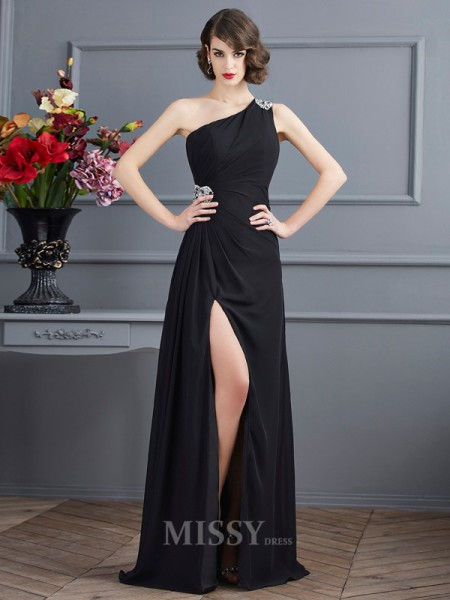 Sheath One-Shoulder Floor-Length Chiffon Evening Dress With Pleats