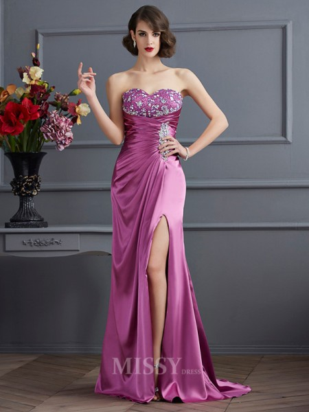 Sheath Sweetheart Sweep Train Elastic Woven Satin Evening Dress With Sash