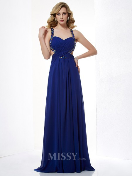 A-Line Halter Floor-Length Chiffon Evening Dress With Lace