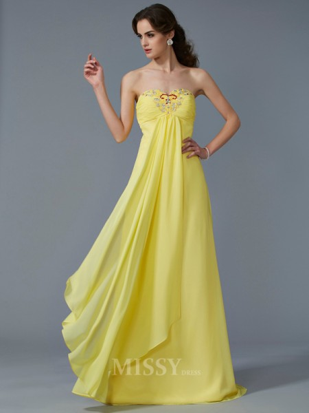 A-Line Sweetheart Chiffon Sweep Train Evening Dress With Sequin