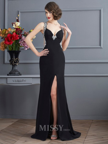 Sheath Straps Sweep Train Chiffon Evening Dress With Ruffles