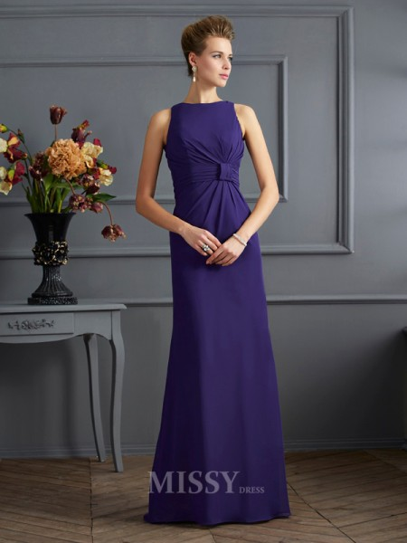 Sheath Bateau Chiffon Floor-Length Evening Dress With Rhinestone Pleats