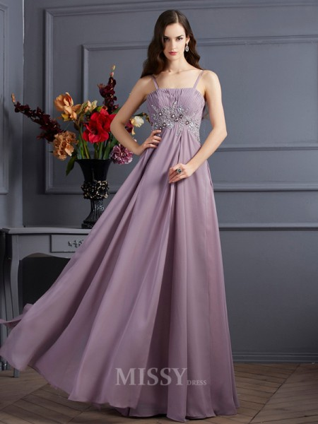 Empire Spaghetti Straps Floor-Length Chiffon Evening Dress With Ruched