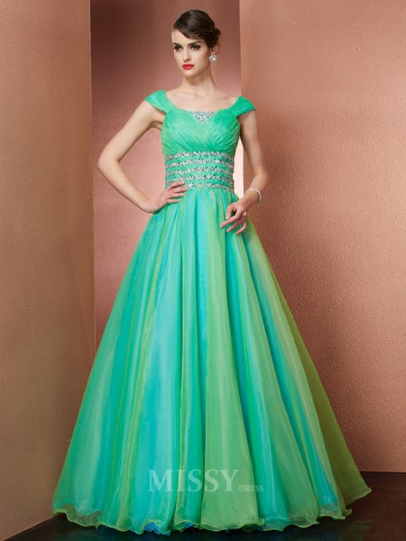 A-Line Scoop Floor-length Organza Evening Dress With Lace