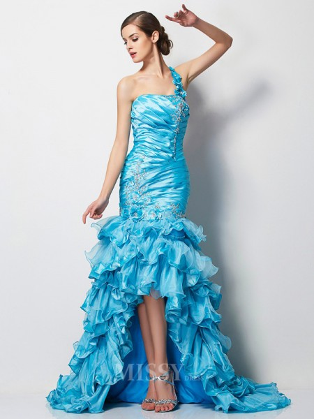 Mermaid One-Shoulder Asymmetrical Taffeta Evening Dress With Embroidery