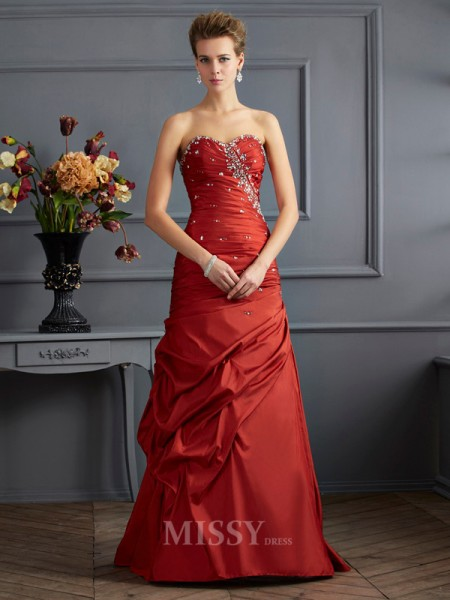 Mermaid Sweetheart Floor-length Taffeta Evening Dress With Beading