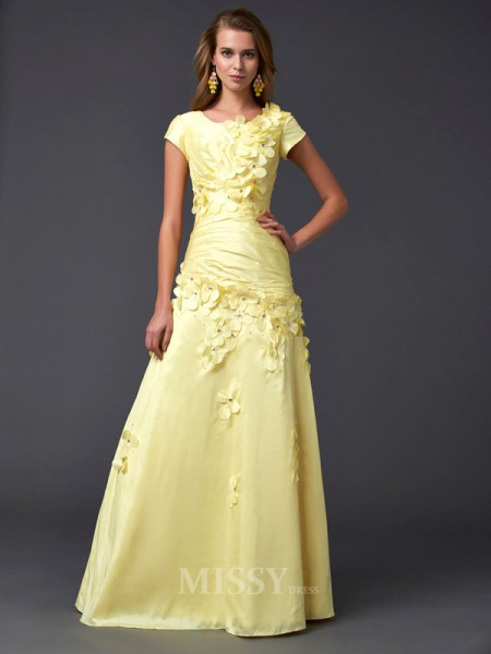Sheath Short Sleeves Scoop Floor-length Taffeta Evening Dress With Sequin