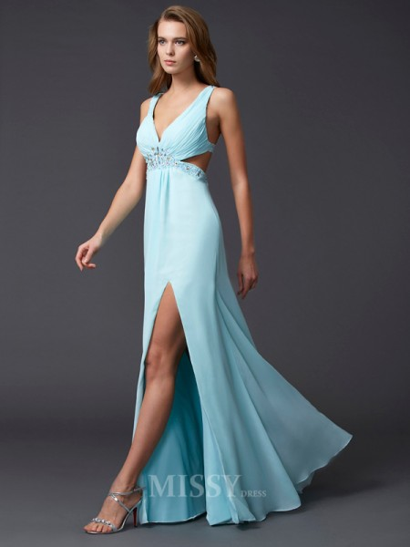 Sheath V-neck Floor-length Chiffon Evening Dress With Beading