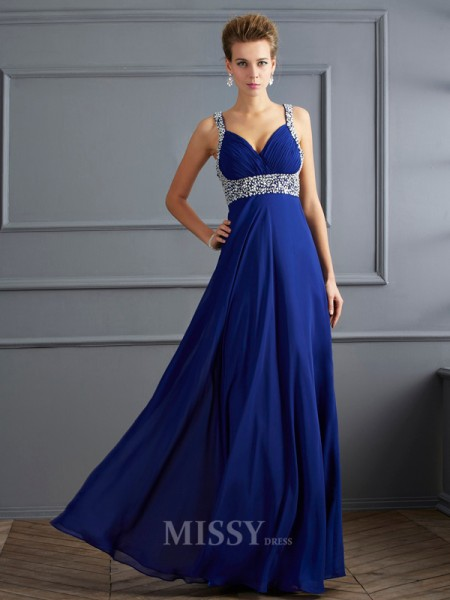 Sheath Straps Floor-length Chiffon Evening Dress With Beading