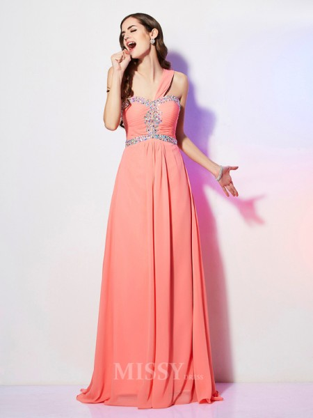 A-Line One-Shoulder Sweep Train Chiffon Evening Dress With Sequin
