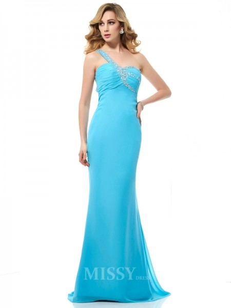 Mermaid Chiffon One-Shoulder Sweep Train Evening Dress With Ruched