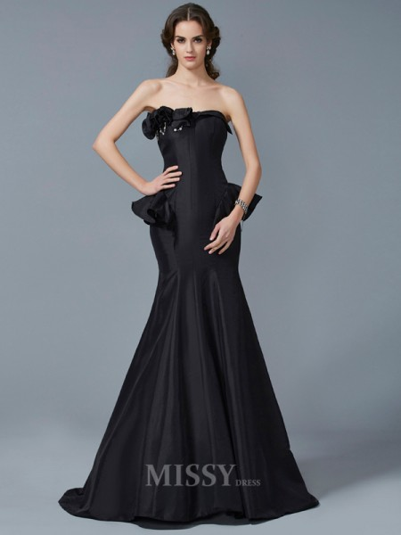 Mermaid Strapless Sweep Train Taffeta Evening Dress With Embroidery Ruffles