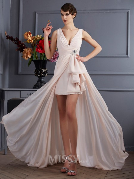 A-Line Straps Chiffon Court Train Evening Dress With Ruched