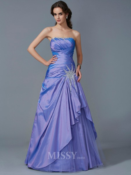 Mermaid Strapless Taffeta Floor-Length Evening Dress With Sequin