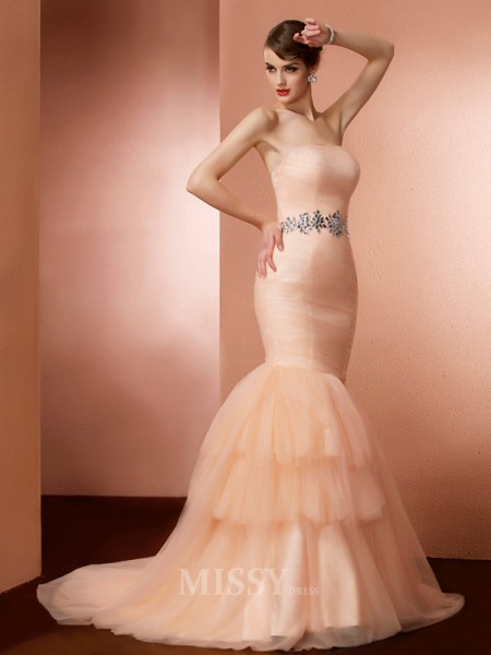 Mermaid Strapless Sweep Train Net Evening Dress With Ruffles