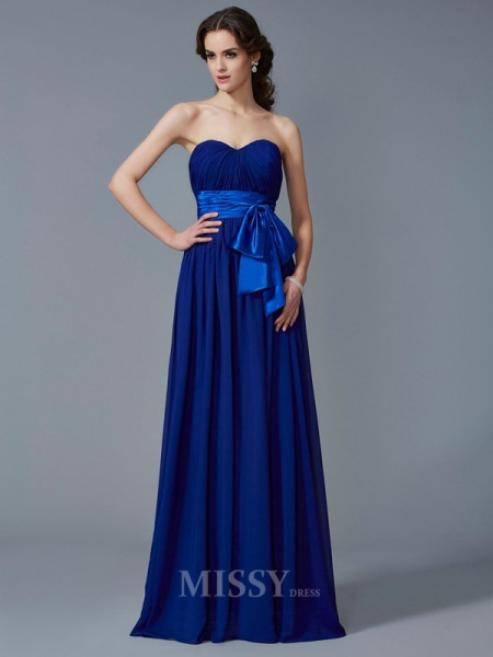 A-Line Sweetheart Chiffon Floor-Length Evening Dress With Embroidery Pleats