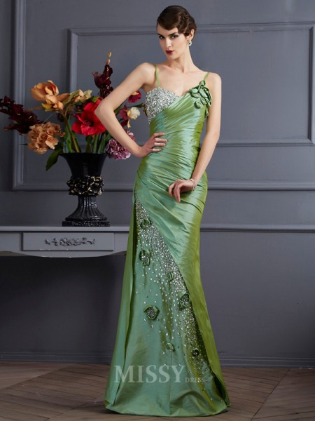 Mermaid Taffeta Spaghetti Straps Floor-Length Evening Dress With Beading